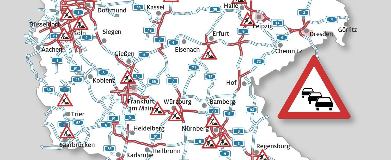Der ADAC sagt für das Wochenende 30.August/1.September vor allem für den Süden Deutschlands verstopfte Straßen voraus. (Quelle: ADAC e. V.)