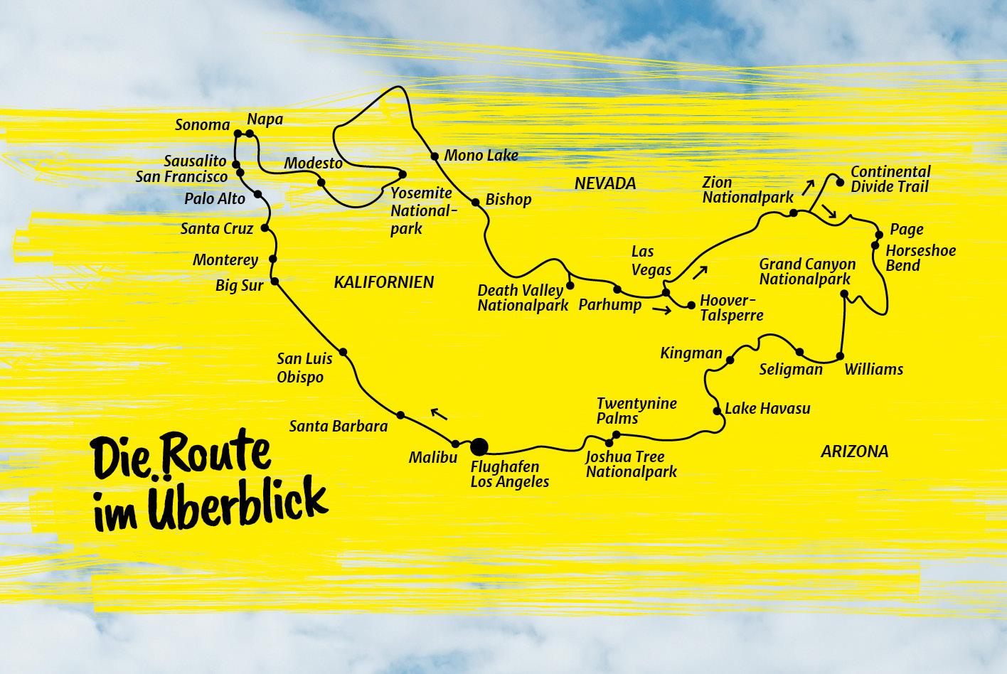 USA-Southwest-Roadtrip: die Route im Überlick