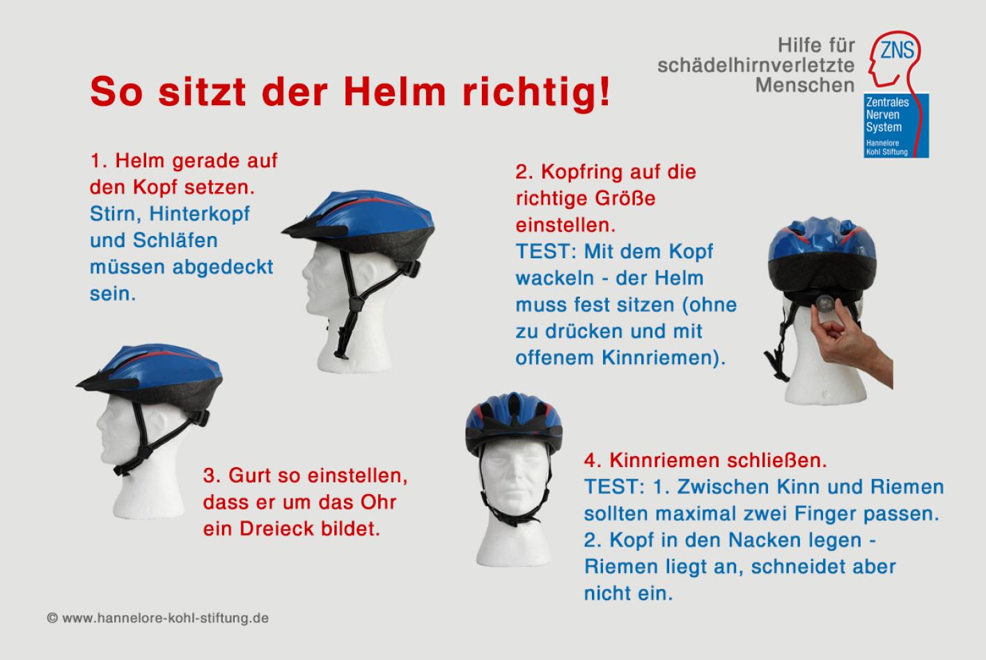 Fahrradfahren nur mit Helm! © ZNS – Hannelore Kohl Stiftung