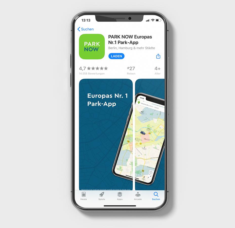 Die Park-App ParkNow im App-Store