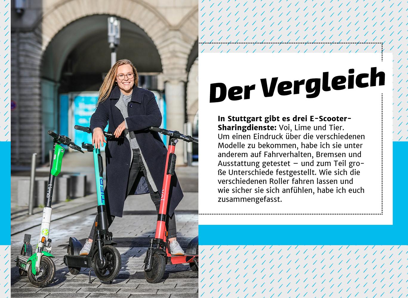 In Stuttgart gibt es drei E-Scooter-Anbieter: Voi, Lime und Tier.