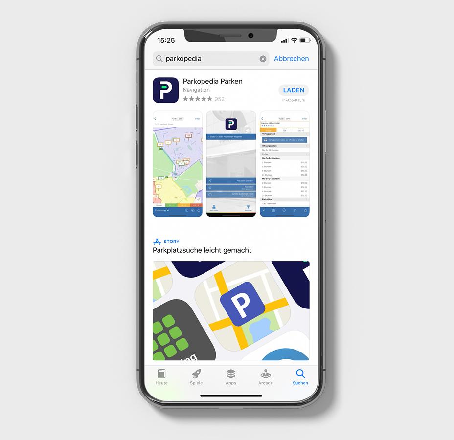 Die Park-App Parkopedia im App-Store