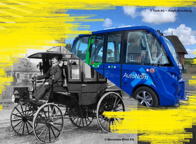 125 Jahre Jubiläum: vom ersten Motor-Omnibus der Welt bis zum autonomen NAF-Shuttle heute.