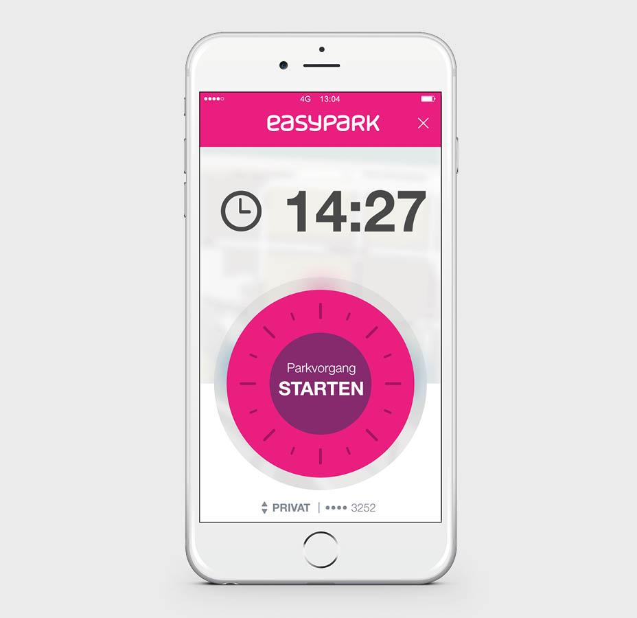 So sieht die App-Oberfläche von EasyPark aus. Das pinke Rad fällt auf.