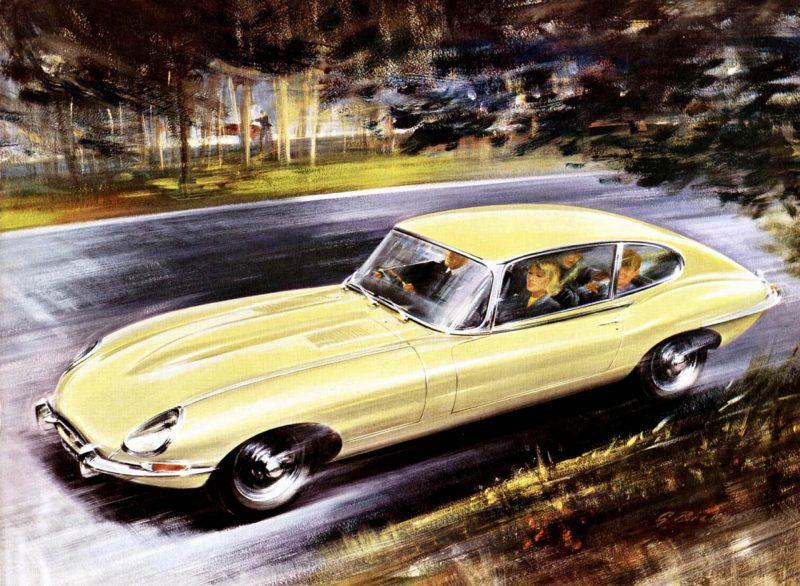 Der Jaguar E-Type wird 60. Im Bild eine Werbung aus dem Jahr 1961
